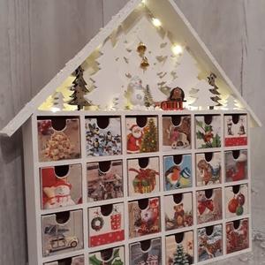 Csodaszép adventi naptár/házikó!, Gyerek & játék, Gyerekszoba, Otthon & lakás, Dekoráció, Decoupage, transzfer és szalvétatechnika, Famegmunkálás, A képen látható termék, az idei karácsony legnagyobb slágere, ami most a te otthonodat is díszítheti..., Meska
