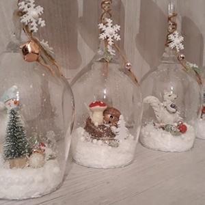Karácsonyi, téli asztaldísz!, Karácsony, Karácsonyi dekoráció, Otthon & lakás, Dekoráció, Ünnepi dekoráció, Dísz, Decoupage, transzfer és szalvétatechnika, Gyertya-, mécseskészítés, A képen látható csodaszép kis asztaldísz kitűnő választás karácsonyi ajándéknak, vagy saját lakásdek..., Meska