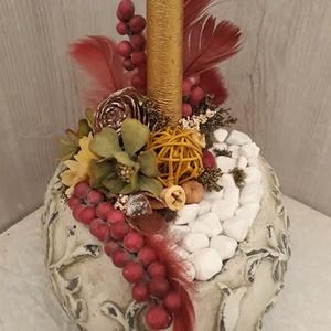 Téli asztaldísz!, Karácsony, Karácsonyi dekoráció, Otthon & lakás, Dekoráció, Ünnepi dekoráció, Lakberendezés, Asztaldísz, Virágkötés, A képen látható téli asztaldísz tökéletes dekoráció az ünnepi asztalon.\nKerámiaalapba épített száraz..., Meska
