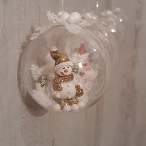 Hóemberkés, hógömbök!, Karácsony, Karácsonyfadísz, Karácsonyi dekoráció, Otthon & lakás, Dekoráció, Ünnepi dekoráció, Decoupage, transzfer és szalvétatechnika, Virágkötés, A képen látható gömbök az idei karácsony nagy kedvencei.\nCuki hóemberkékkel, műhóval dekorálva, igaz..., Meska