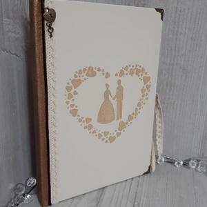 Elegáns, esküvői vendégkönyv, emlékkönyv, fotóalbum!, Vendégkönyv, Emlék & Ajándék, Esküvő, Decoupage, transzfer és szalvétatechnika, Könyvkötés, A képen látható album, igazán különleges kiegészítője lehet az esküvői dekorációnak, amibe a vendége..., Meska