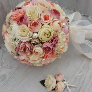 Esküvői csokor! Menyasszonyi csokor! Gömbcsokor! Eldobó csokor! Esküvői dekoráció!, Esküvő, Esküvői csokor, Esküvői dekoráció, Otthon & lakás, Dekoráció, Csokor, Virágkötés, A képen látható menyasszonyi csokor kiváló minőségű, élethű selyemvirágokból készült.\nSzín, forma, m..., Meska