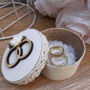 Romantikus, vintage hangulatú gyűrűtartó doboz esküvői ceremóniára!, Esküvő, Kiegészítők, Gyűrűtartó & Gyűrűpárna, Decoupage, transzfer és szalvétatechnika, Meska