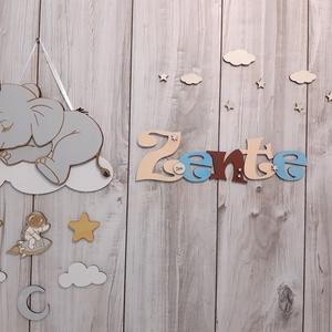 Név, babaszoba dekoráció!, Otthon & Lakás, Dekoráció, Betű & Név, Famegmunkálás, Decoupage, transzfer és szalvétatechnika, Meska