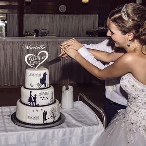 Tortadísz, tortabeszúró a pár nevével, Esküvő, Dekoráció, Sütidísz, Gravírozás, pirográfia, Legyen egyedi, igazán rólatok szóló tortabeszúrótok!\nNatúr, vagy vintage fehérre festett változatban..., Meska