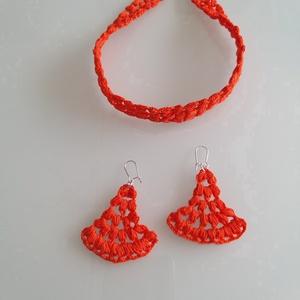 Korall  szett, Ékszerszett, Ékszer, Horgolás, Korall - narancs héj színű nyakpánt, és fülbevaló\nCsomós mintával készítettem el, ami által különleg..., Meska
