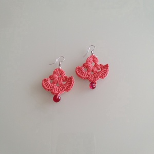 Rózsaszín,  legyezős, kicsi fülbevaló., Ékszer, Fülbevaló, Horgolás, Rózsaszínű  legyező mintázatú kis fülbevaló. \nGyönggyel  díszítettem., Meska