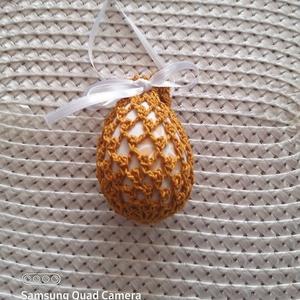 Húsvéti tojás aranysárga, Otthon & Lakás, Dekoráció, Horgolás, Húsvéti horgolt tojás aranysárga  színben.\nLassan itt a szép ünnepünk a Húsvét. Ez alkalomra tojások..., Meska