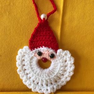 Horgolt Mikulás fej karácsonyi dekoráció ( Mikulásfej horgolt dísz ), Mikulás, Karácsony & Mikulás, Otthon & Lakás, Horgolás, Az általam  horgolt gyönyörűszép Mikulás fej méretei a következők:\n\nMagasság: 10 cm (minimálisan elt..., Meska