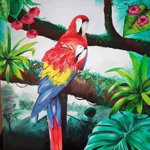 Papagájok - akril festmény, Képzőművészet, Otthon & lakás, Festmény, Akril, Festészet, 58 x 58 cm méretű feszített vászonra készült akril festmény.\nKeretezést nem igényel, azonnal a falra..., Meska