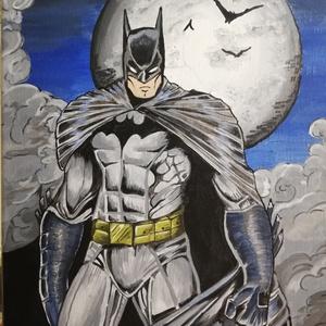 Batman festmény , Képzőművészet, Otthon & lakás, Festmény, Akril, Festészet, 30x40 cm feszített vászonra készült akril festmény.\nKeretezést nem igényel. \n, Meska