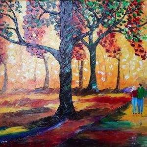 Az első randevú/olaj festmény, Művészet, Festmény, Olajfestmény, Festészet, Ezt a festményemet az őszi szín világ uralja.Nagy hangsúlyt helyeztem a fények és kontrasztok\nhangsú..., Meska
