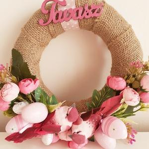 Rózsaszín tavasz/kopogtató, Otthon & Lakás, Dekoráció, Ajtódísz & Kopogtató, Virágkötés, Az alapot szövött szalaggal vontam be, a kopogtató alsó részét madarakkal , virágokkal,levelekkel és..., Meska