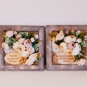 Esküvői köszönőajándék édesanyák részére/ idézettel, Esküvő, Emlék & Ajándék, Szülőköszöntő ajándék, Virágkötés, A 20 x 20 cm méretű antikolt barna keretbe először szövött szalagokból alap díszítést ragasztottam,m..., Meska