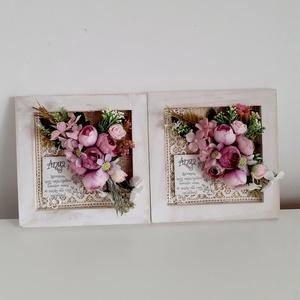 Köszönőajándék esküvőre az édesanyáknak /idézettel, Esküvő, Emlék & Ajándék, Szülőköszöntő ajándék, Virágkötés, A fehér fa keret aljára, először szövött szalagot és virág mintás csipke szalagot ragasztottam.Boglá..., Meska