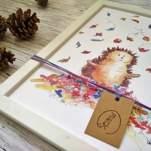 Süni falevelekkel, Gyerek & játék, Gyerekszoba, Baba falikép, Képzőművészet, Otthon & lakás, Festészet, Fotó, grafika, rajz, illusztráció, Kézzel festett festményemből készült reprodukció, művészpapírra nyomtatva.\nA4-es méretű, mely képker..., Meska