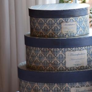 Kék, vintage stílusú kalapdoboz szett, Doboz, Tárolás & Rendszerezés, Otthon & Lakás, Festett tárgyak, Kiváló dekorációja lehet a vintage stílusú otthonoknak, illetve fotóstúdiók, virágüzletek, esküvők k..., Meska