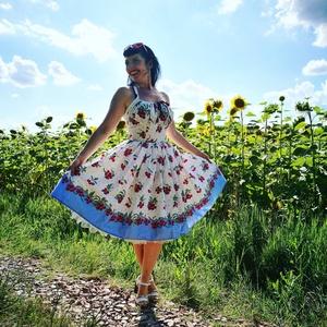 Pinup Rockabilly ruha,  apró cseresznye mintás, cseresznyés  bordűrös, Táska, Divat & Szépség, Magyar motívumokkal, Ruha, divat, Női ruha, Ruha, Varrás, Fehér alapon cseresznye mintás rockabilly, pinup ruha. 100% pamut.\nAlsószoknya nélkül.\nElérhető xs-3..., Meska