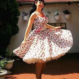 Pinup Rockabilly ruha,  apró cseresznye mintás, cseresznyés , Táska, Divat & Szépség, Magyar motívumokkal, Ruha, divat, Női ruha, Ruha, Varrás, Fehér alapon cseresznye mintás rockabilly, pinup ruha. 100% pamut.\nAlsószoknya nélkül.\nElérhető xs-3..., Meska