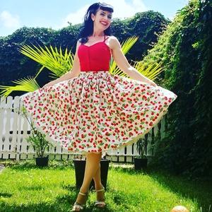 Pinup Rockabilly szoknya, Cseresznye mintás, cseresznyés, Szoknya, Női ruha, Ruha & Divat, Varrás, Fehér alapon cseresznye mintás rockabilly, pinup szoknya. 100% pamut.\nAlsószoknya nélkül.\nElérhető x..., Meska