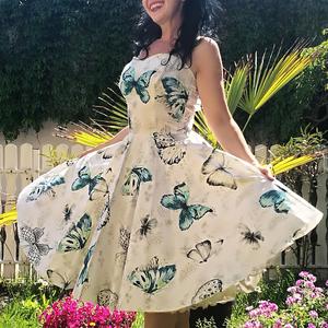 Pinup Rockabilly ruha pillangó mintás, Ruha & Divat, Női ruha, Ruha, Varrás, Pillangó mintás rockabilly, pinup ruha. 100% pamut.\nAlsószoknya nélkül.\nElérhető xs-3xl méretben.\nPo..., Meska