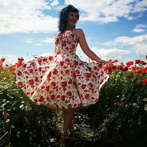 Pinup Rockabilly ruha pipacs mintás, virágos, Ruha & Divat, Női ruha, Ruha, Varrás, Pipacs mintás rockabilly, pinup ruha. 100% pamut.\nAlsószoknya nélkül.\nElérhető xs-3xl méretben.\nPost..., Meska