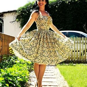 Pinup Rockabilly ruha, százszorszép mintás, virágos sárga , Ruha & Divat, Női ruha, Ruha, Varrás, Szazszorszep mintás rockabilly, pinup ruha.\n100% pamut.\nAlsószoknya nélkül.\nElérhető xs-3xl méretben..., Meska