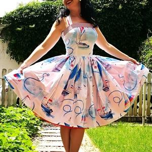 Pinup Rockabilly ruha, hajó mintás, Ruha & Divat, Női ruha, Ruha, Varrás, Hajó mintás rockabilly, pinup ruha.\n100% pamut.\nAlsószoknya nélkül.\nElérhető xs-3xl méretben.\nPostáz..., Meska