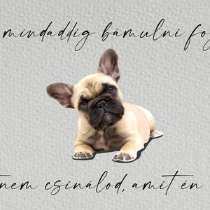 """Francia Bulldog kutyás falikép, Művészet, Grafika & Illusztráció, Fotó, grafika, rajz, illusztráció, Saját készítésű, tervezésű egyedi, humoros kézírásos betűkkel \""""Én mindaddig bámulni foglak, amíg azt..., Meska"""