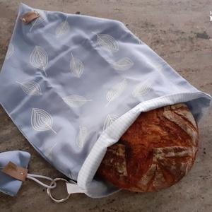 marti - frissen tartó, lélegző kenyeres - zsák és kosár, nagy méretű, halványkék - levél mintás, világoskék csíkos bélés, Otthon & Lakás, Konyhafelszerelés, Kenyértartó, Varrás, marti - frissen tartó, lélegző kenyeres - zsák és kosár leírása:\nA frissen tartó kenyeres zsák kétré..., Meska