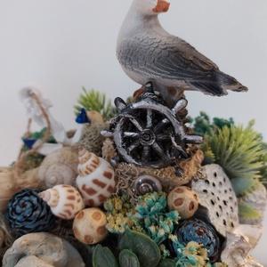 Nyári dekor, Otthon & Lakás, Dekoráció, Díszdoboz, Mindenmás, Virágkötés, 12*12 cm nyomott mintás kerámiába készült nyári izgalmas asztaldísz. Már már zsúfolásig tele kagylók..., Meska