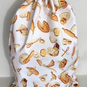 Péksütemény/1 kg-os kenyeres zsák - ekrű alapon pékáru mintás, Táska & Tok, Bevásárlás & Shopper táska, Kenyeres zsák, Varrás, Pamutvászonból készült kenyeres zsák, melybe az 1 kg-os kenyér is kényelmesen elfér vagy a péksütemé..., Meska