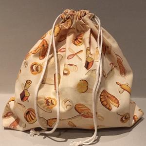 Péksütemény/0,5 kg-os kenyeres zsák, NoWaste, Bevásárló zsákok, zacskók , Táska, Divat & Szépség, Kulinária (élelmiszer), Varrás, Pamutvászonból készült kenyeres zsák, melybe az 0,5 kg-os kenyér is kényelmesen elfér vagy a péksüte..., Meska