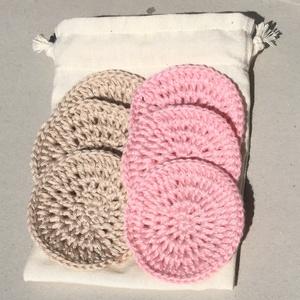 Újrahasználható/mosható arctisztító korong - drapp - világos rózsaszín, Táska, Divat & Szépség, Szépség(ápolás), Kozmetikum, NoWaste, Horgolás, Óvjuk a környezetünket, legyen kevesebb a szemét, mind ezek mellett még spóroljunk is. Ezek az újra ..., Meska