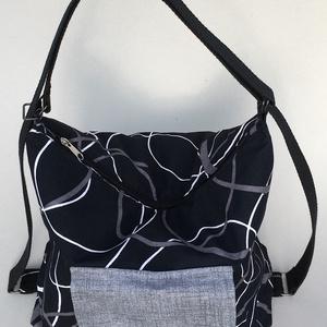 2in1 táska, Táska & Tok, Kézitáska & válltáska, Válltáska, Patchwork, foltvarrás, Varrás, Vászonból készült 2in1-ben táska, válltáska vagy hátizsák, amelyikre éppen szükség van. Kívül két zs..., Meska