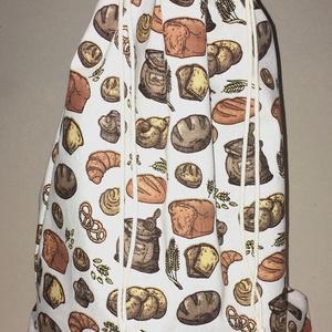 Péksütemény/1 kg-os kenyeres zsák - színes pékáru mintás, Táska & Tok, Bevásárlás & Shopper táska, Kenyeres zsák, Varrás, Pamutvászonból készült kenyeres zsák, melybe az 1 kg-os kenyér is kényelmesen elfér vagy a péksütemé..., Meska