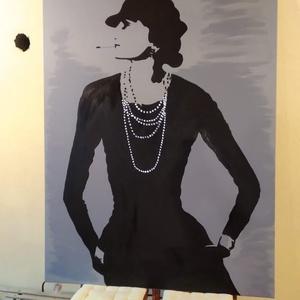 coco chanel festmeny, Művészet, Festmény, Akril, Festészet, Nagy mértű 100x160 cm Coco Chanel festmény rendelhető.\nA következő fesményt loft lakásba festettem. ..., Meska
