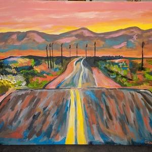amerika, Művészet, Festmény, Akril, Festészet, bob dylan ihlette amerikai autópálya\n\nA következő fesményt anyukámnak festettem. Hasonló festmény re..., Meska