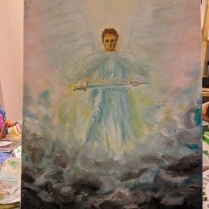 Mihály, Művészet, Festmény, Akril, Festészet, Védőangyal festmény\nA következő fesményt saját magamnak festettem. Hasonló festmény rendelhető. Ha m..., Meska