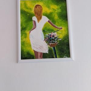 Biciklis lány, Művészet, Festmény, Akril, Festészet, A híres biciklis lány, akril, élénkebb megfestése.\n50*60 cm farost.\nJó minőségű akril festékkel dolg..., Meska