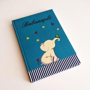 kék, kiselefántos iker babanapló, Játék & Gyerek, Textilkönyv & Babakönyv, Fotó, grafika, rajz, illusztráció, Egyedi készítésű, vidám mintás babanapló, babaváró könyvecske, ajándéknak is tökéletes választás!\n\nA..., Meska