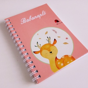Őzikés spirálos rózsaszín babanapló, Otthon & Lakás, Papír írószer, Jegyzetfüzet & Napló, Fotó, grafika, rajz, illusztráció, Egyedi készítésű, vidám mintás babanapló, babaváró könyvecske, ajándéknak is tökéletes választás!\n\nA..., Meska