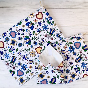 Zérowaste virágos szett ( 1 kenyeres zsák, 1 pékárus zsák, 1 újraszalvéta), Szendvics csomagoló, Uzsonna- & Ebéd tartó, Táska & Tok, Varrás, Egy ilyen Virágos szettel  kiváltható az egyszer használatos nylonzacskó, alufólia es folpack haszná..., Meska