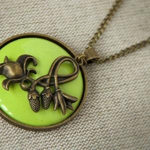 Art Deco - almazöld tűzzománc nyaklánc nagy medállal, Ékszer, Medálos nyaklánc, Nyaklánc, Ékszerkészítés, Tűzzománc, Meska