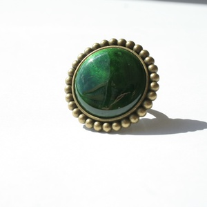 Cetonia Aurata - zöld tűzzománc gyűrű - maxi, Ékszer, Statement gyűrű, Gyűrű, Benneteket is megigézett gyerekkorotokban a rózsabogár páncéljának ragyogó, színjátszó zöldje? A tra..., Meska