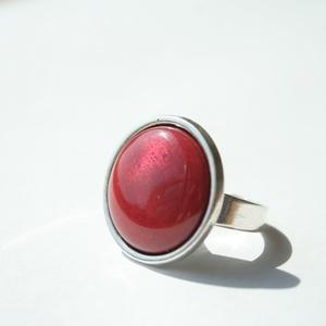 Rózsaszín kerek tűzzománc gyűrű ezüst színű foglalatban (MatisZomanc) - Meska.hu