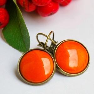 """Narancs tűzzománc francia kapcsos fülbevaló, Lógós fülbevaló, Fülbevaló, Ékszer, Ékszerkészítés, Tűzzománc, Igazi őszi energiabomba ez a kerek \""""burnt orange\"""" (égetett narancs, narancssárga) tűzzománc betétes ..., Meska"""