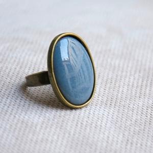Világos kékes szürke, szürkés kék ovális tűzzománc gyűrű, Ékszer, Gyűrű, Ékszerkészítés, Tűzzománc, Ha szereted a különleges gyűrűket, tetszeni fog ez az ovális világos kékes szürke vagy szürkés kék ..., Meska