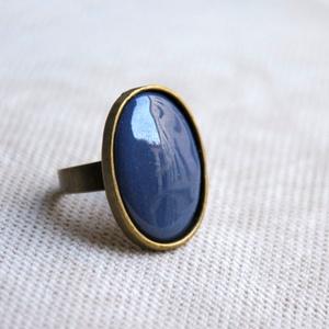 Kékes szürke, szürkés kék ovális tűzzománc gyűrű, Szoliter gyűrű, Gyűrű, Ékszer, Ékszerkészítés, Tűzzománc, Ha szereted a különleges gyűrűket, tetszeni fog ez az ovális grafit szürke, kékes szürke vagy szürké..., Meska