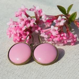 Rózsaszín tűzzománc francia kapcsos fülbevaló, Ékszer, Lógó fülbevaló, Fülbevaló, Ékszerkészítés, Tűzzománc, Meska